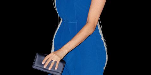 Megan Markle Pregnant Baby Bump Blue Ruffle Dress