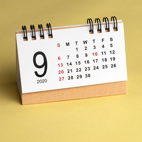 september calendar on yellow background