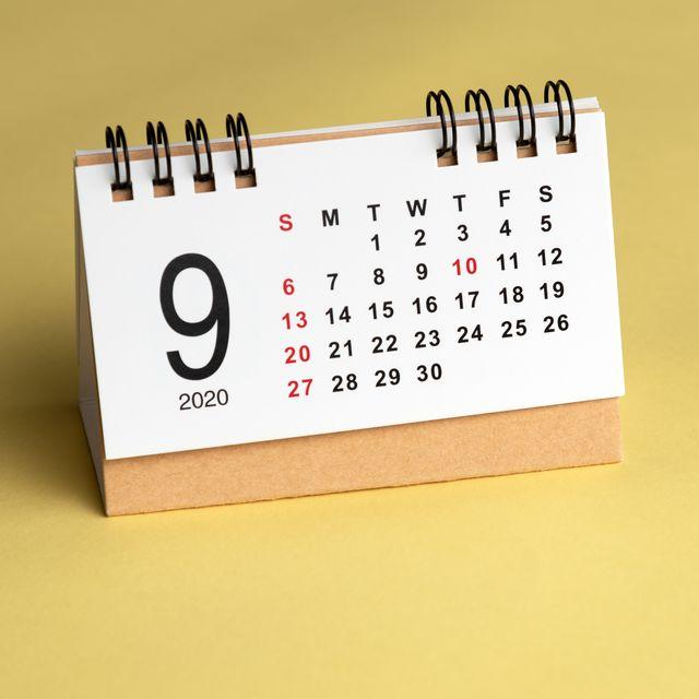 september calendar on yellow background
