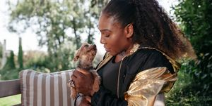 Serena Williams and her dog