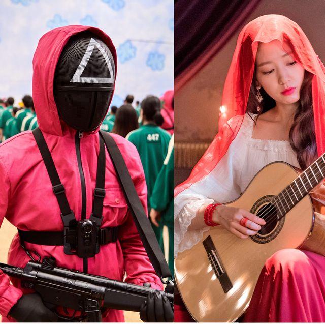 collage de series coreanas de netflix el juego del calamar, recuerdos de la alhambra y extracurricular
