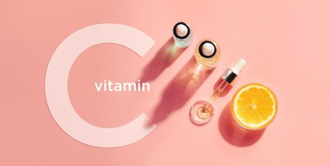 Serum with vitamin C, concept design. Beauty therapy, body care. Minimalism Flat lay.