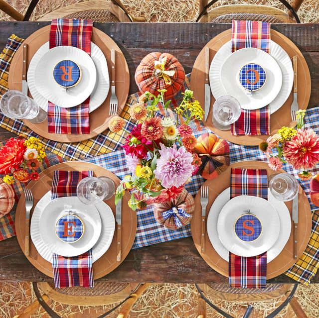 plaid tidings   harvest feast featuring personalized place settings, autumnal arrangements, and pumpkins aplenty  table, dinner, barn party