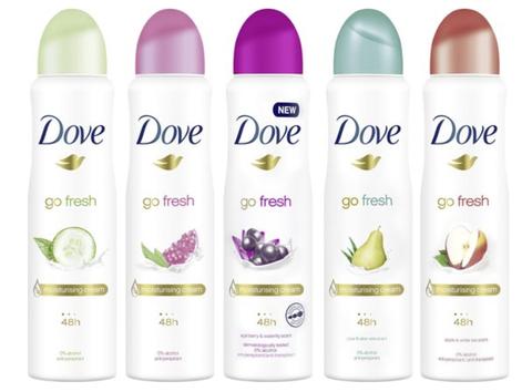 set van 5 deodorants van dove