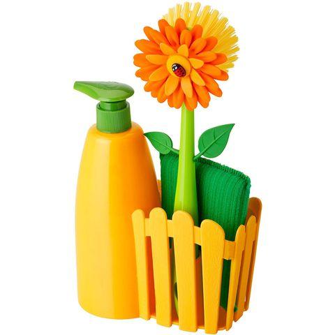 Set de fregadero con cepillo, esponja y dosificador para jabón