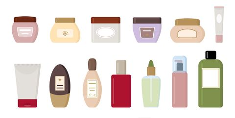 Set of cosmetic products isolated on white background.