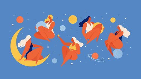 set of people flying in space vector flat illustration collection of wom n holding planet with dream universe concept in flat graphic vector illustration