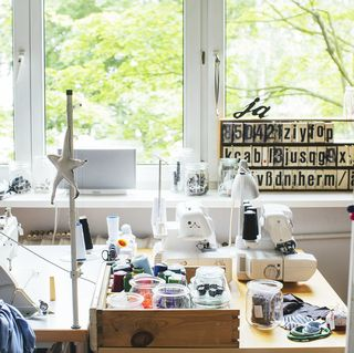 sewing machine in room
