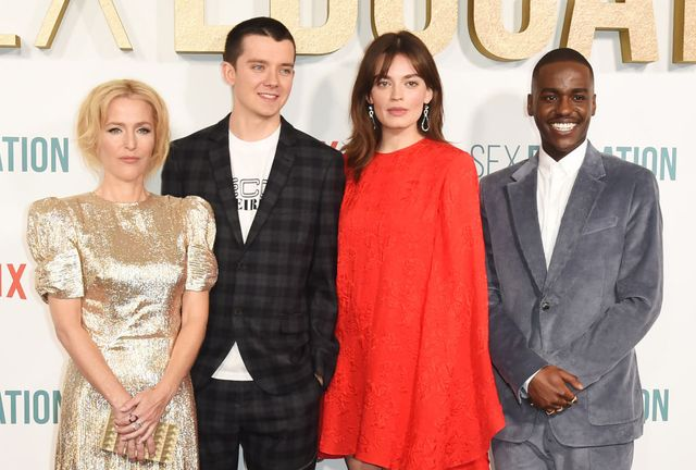 london, england   january 08 l to r  gillian anderson, asa butterfield, emma mackey and ncuti gatwa attend the world premiere of netflixs sex education season 2 at the genesis cinema on january 8, 2020 in london, england  photo by david m benettdave benettwireimage