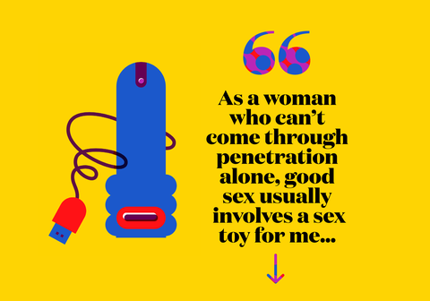 As a woman who can't come through penetration alone, good sex usually  involves a sex toy for me...