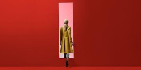 Red, Yellow, Orange, Fashion, Standing, Outerwear, Fashion design, Dress, Coat, Art,