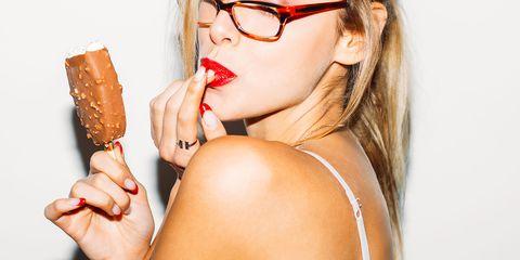 Eyewear, Lip, Glasses, Beauty, Junk food, Drinking, Sunglasses, Drink, Neck, Vision care,