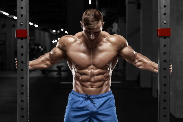 Sexy Muscular Man In Gym, Shaped Abdominal. Strong Male Naked Torso Abs,  Working
