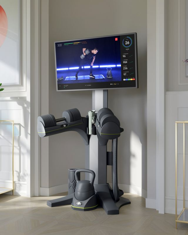 a home gym machine with a large screen