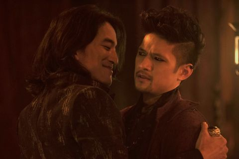 Jack Yang and Harry Shum Jr as Asmodeus and Magnus Bane in Shadowhunters