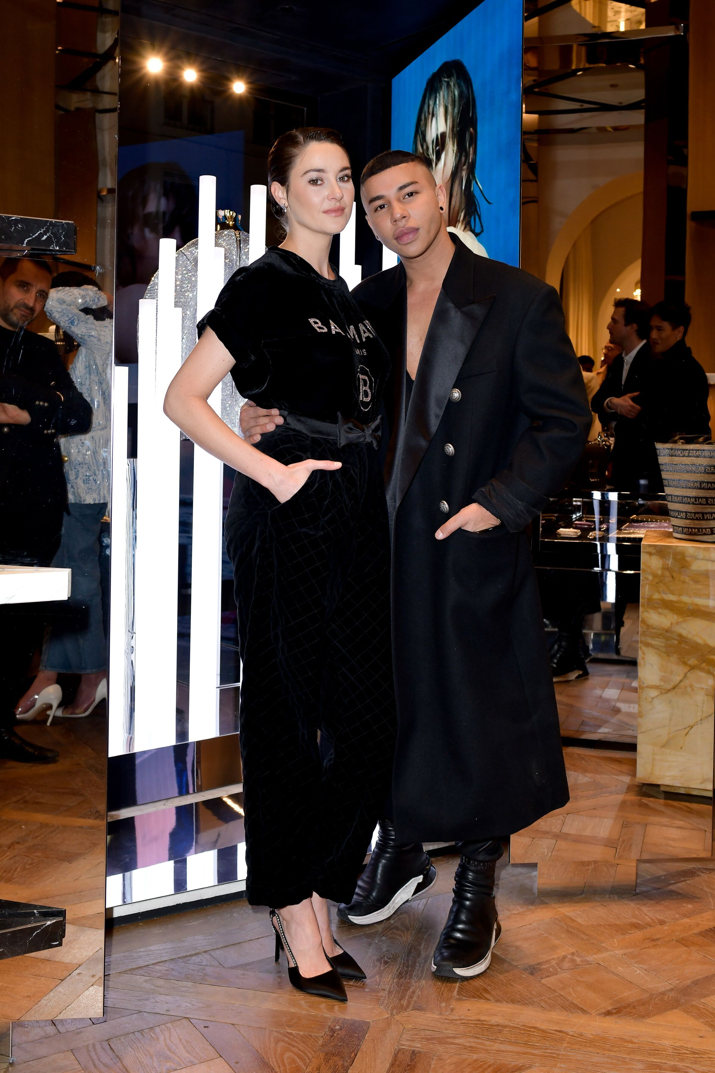 Shailene Woodley and Olivier Rousteing Shailene Woodley and Olivier Rousteing in Paris to celebrate the opening of the new Balmain store, 374 rue Saint Honoré 75001 on March 2.