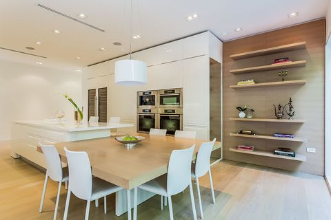 Room, Furniture, Interior design, Property, Dining room, Ceiling, Building, Kitchen, Countertop, Table,