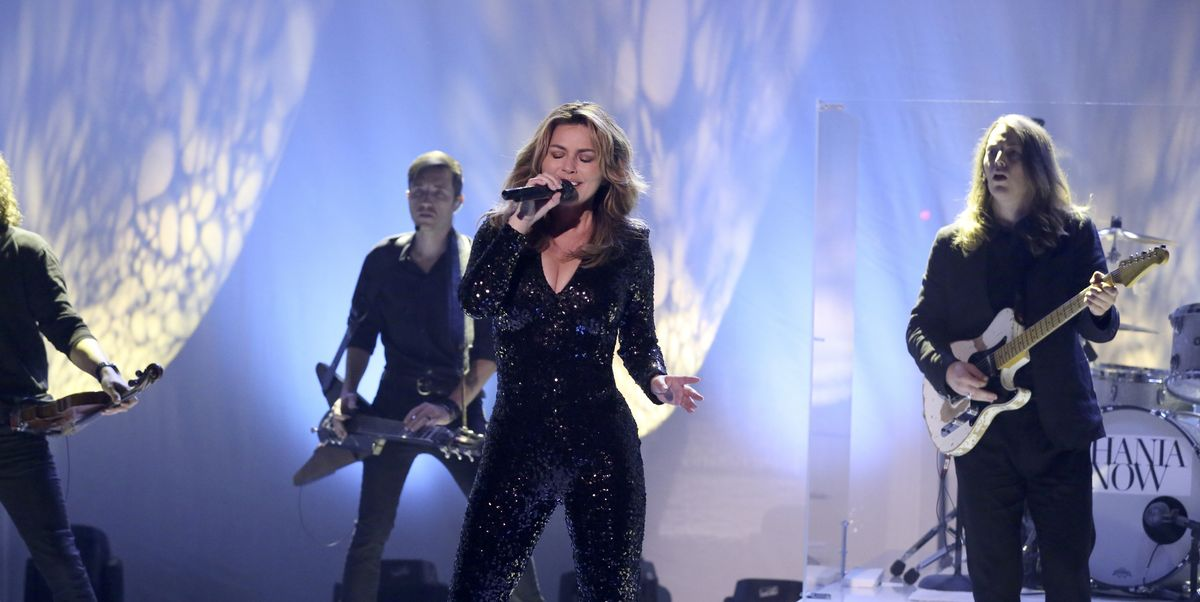 51-Year-Old Shania Twain Looks Pure Fire In This Skin-Tight Sequin Jumpsuit
