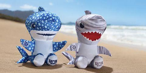 Stuffed toy, Shark, Toy, Plush, Jaw, Animal figure, Smile,