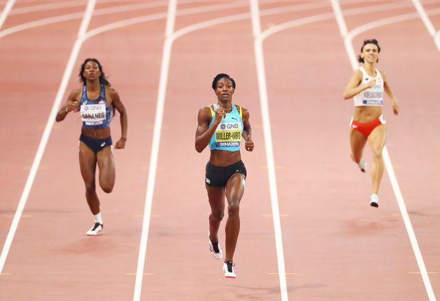 la campeona olímpica de 400m, la bahameña shaunae miller uibo core en el mundial de atletismo de doha 2019