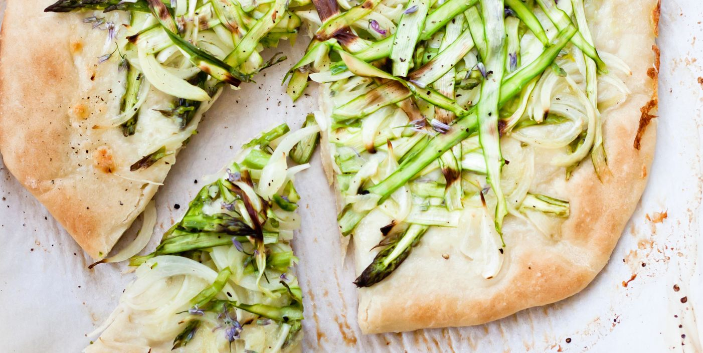 Shaved asparagus and chive blossom pizza