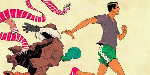 illustration runner shedding winter clothes