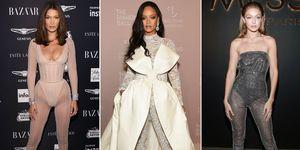 Rihanna, Gigi Hadid, Bella Hadid - sheer jumpsuits