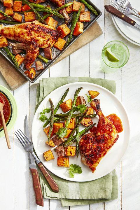 sheet pan dinners chicken sweet potatoes asparagus