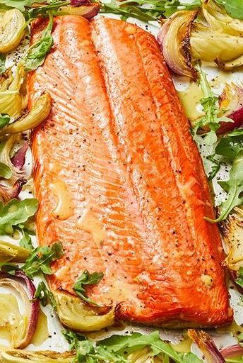 sheet pan dinners oven roasted salmon charred lemon vinaigrette