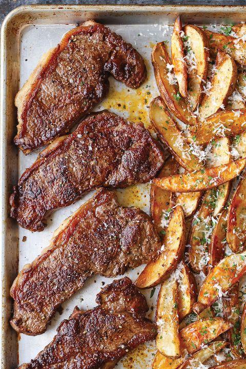 sheet pan dinners steak fries