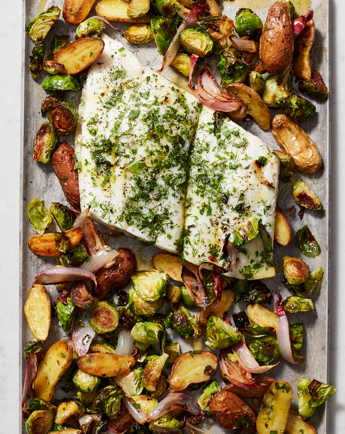 Baked Halibut With Potatoes and Brussels Sprouts