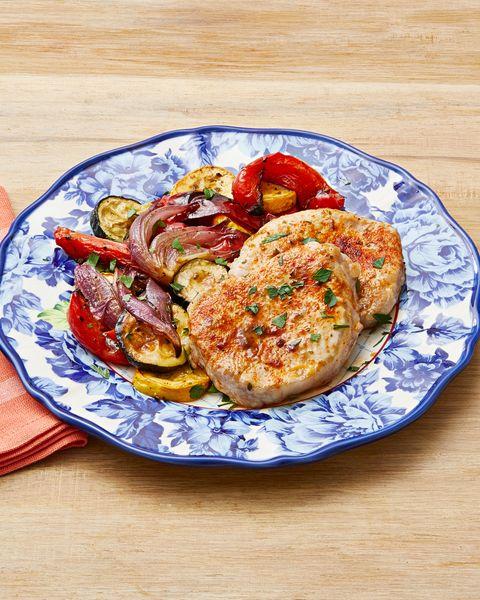 sheet pan ranch pork and veggies dinner