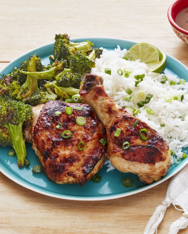 sheet pan spicy peanut chicken and broccoli
