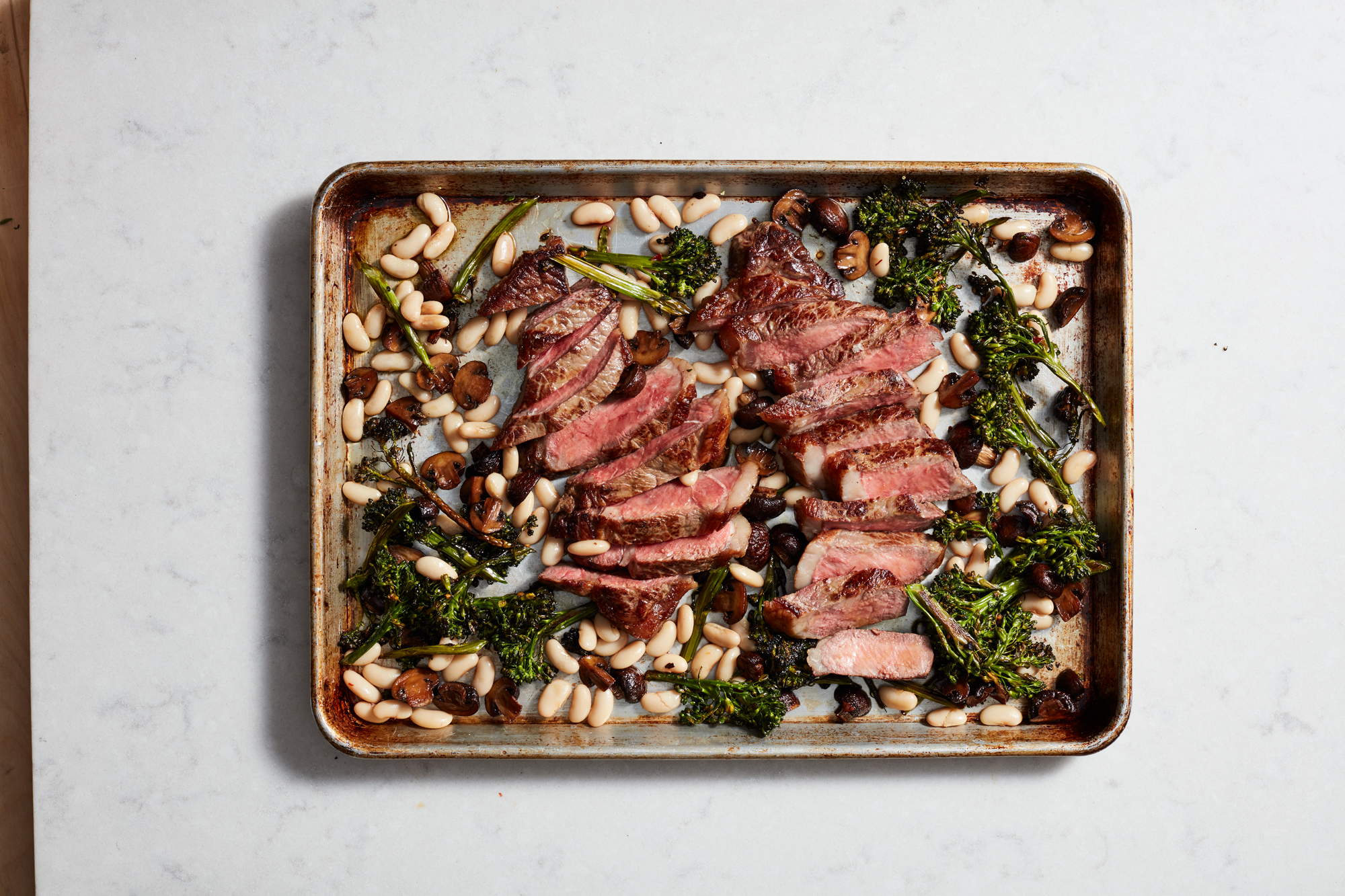 Sheet Pan Steak With Beans and Broccolini