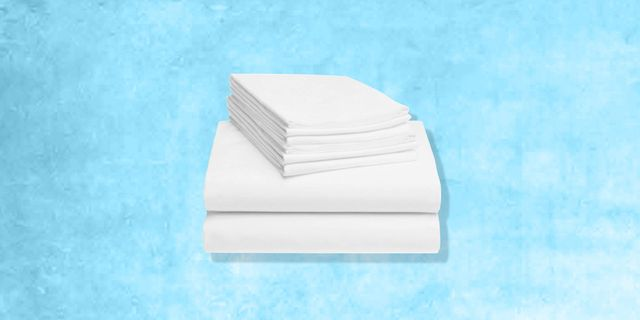 white sheet set with blue background