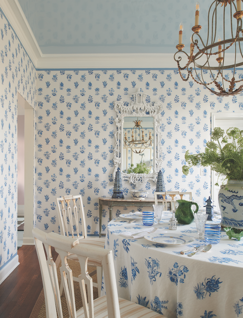 Dining room, Room, Blue, Property, Wall, Interior design, Wallpaper, Furniture, Ceiling, Yellow,