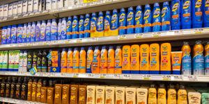 Shelves of sunscreen for sale at Publix in Naples, Florida.