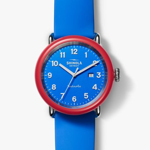 red and blue watch