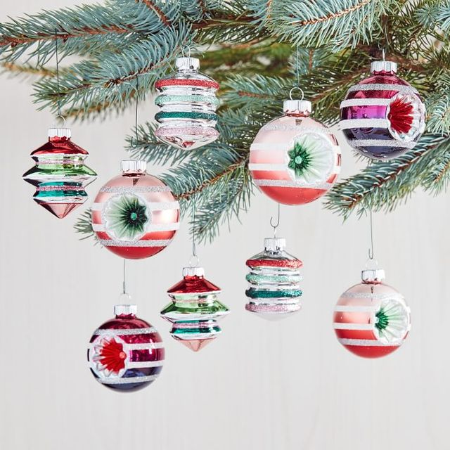 shiny brite ornaments with multi color and sparkles