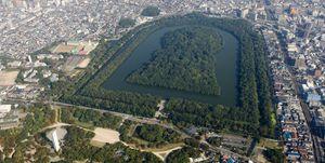 Japan, Osaka Prefecture, Sakai, Daisen Park, Tomb of Emperor Nintoku, aerial view