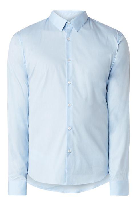 Clothing, White, Collar, Blue, Shirt, Dress shirt, Sleeve, Button, Outerwear, Denim,