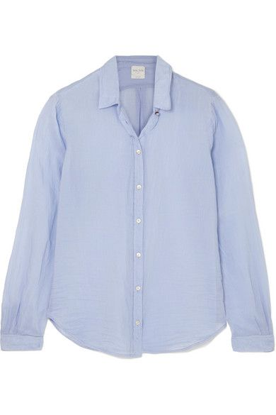 Clothing, Blue, White, Sleeve, Shirt, Collar, Button, Blouse, Outerwear, Purple,
