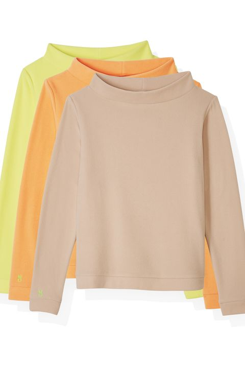 Clothing, Sleeve, Yellow, Orange, Shoulder, Neck, Outerwear, Blouse, T-shirt, Long-sleeved t-shirt,