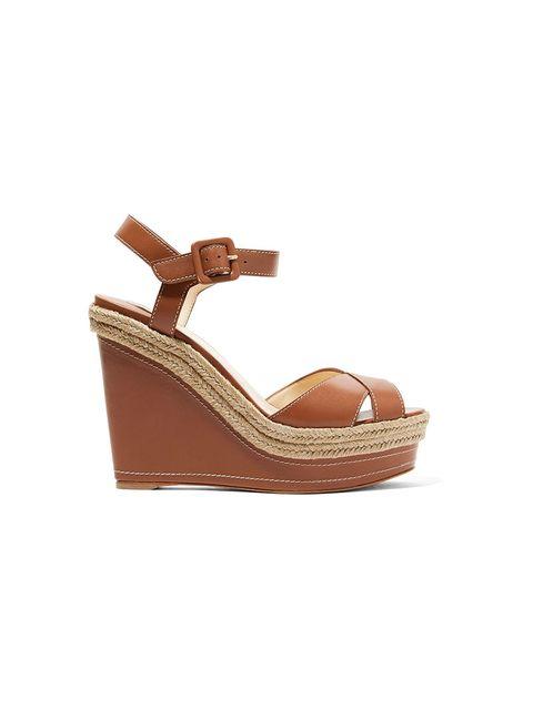 Footwear, Sandal, Shoe, Tan, Brown, Beige, Wedge, Slingback,