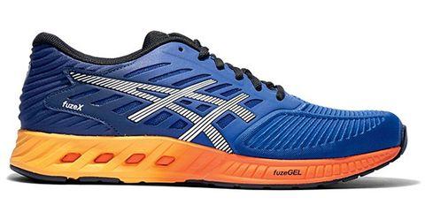 Footwear, Blue, Shoe, Product, Sportswear, Athletic shoe, White, Orange, Sneakers, Line,