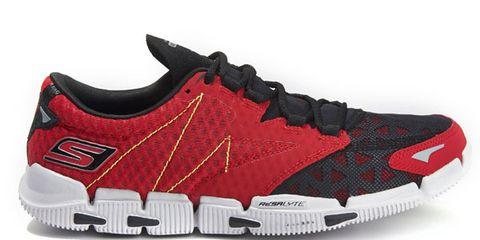 Footwear, Product, Shoe, Athletic shoe, White, Red, Sportswear, Line, Sneakers, Logo,