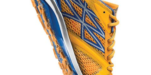 Yellow, Orange, Amber, Font, Tan, Electric blue, Beige, Outdoor shoe, Synthetic rubber, Running shoe,