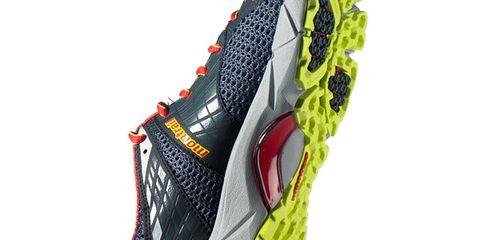 Sports equipment, Running shoe, Athletic shoe, Font, Carmine, Black, Orange, Synthetic rubber, Grey, Bicycle shoe,
