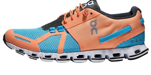 Footwear, Blue, Product, Brown, White, Orange, Sportswear, Athletic shoe, Line, Logo,