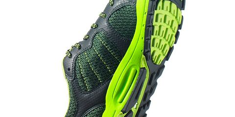 Green, Sports equipment, Running shoe, Shoe, Athletic shoe, Cleat, Bicycle clothing, Grey, Sneakers, Bicycle shoe,